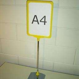 Standaard A4 geel compl. voet metaal