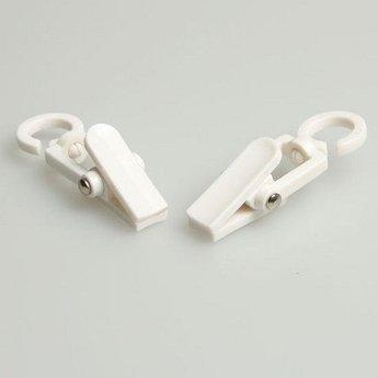 Clever-clip mini wit lengte 5 cm verpakt per 100 stuks, sjaalhanger. Diameter van het ophanghaakje is aan de binnenzijde 9mm.