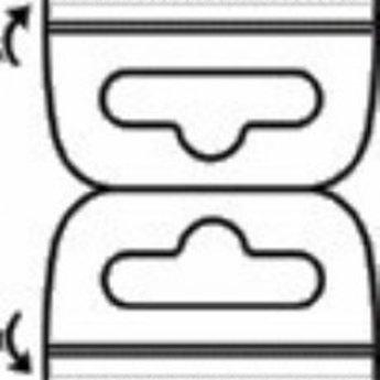 Hang-ups dubbel 50x50mm -Euroslot verpakt per 2000 stuks. Hangtabs met eurolock.<br /> <br /> Aantal:  2000 op rol.<br /> Formaat: 50 x 100 mm<br /> Kleefstrook: Standaard<br /> Lijm formaat: 50 x 18 mm (2x)<br /> Materiaal: 380 micron PET