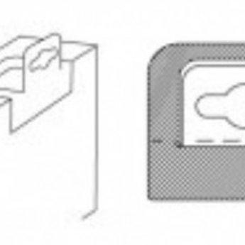 Hang-ups 62x50 mm, met tape - met Euroslot voor boardhaken . Verpakt op rollen van  2000 stuks.<br /> <br /> Aantal: 2000<br /> Formaat: 62 x 50 mm<br /> Lijm type: Flexi<br /> Materiaal: 250 micron PET top