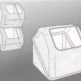 Counter cube / Dumpsta / Candy box / snoepbak bxhxd 222x216x229. Opening is 14 cm breed x 11 cm hoog. Transparante uitvoering. Materiaal transparant styreen.