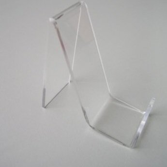 Acryl-standaard voor lederwaren/ mobiele telefoons hoogte  6cm diepte  2cm