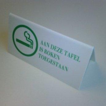 Tafelbordje  - AAN DEZE TAFEL IS ROKEN TOEGESTAAN - , afmeting bxh 13x6,5cm
