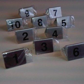 Tafelbordje / tafelnummers  RVS setje met nummers 1 tot 10.