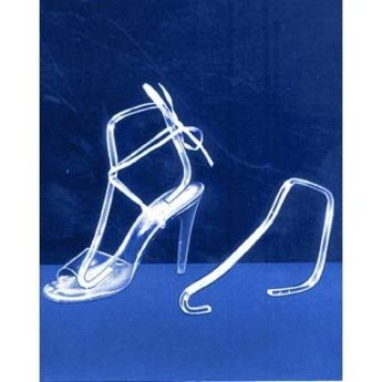 Hielhakstandaard transparant, acryl beugel om schoen / sandaal in vorm te presenteren.