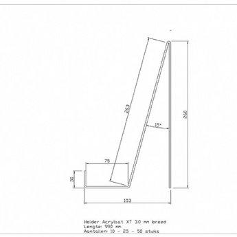 Acryl boeken presentatiedisplay, uitgevoerd volgens bijgaande schets.<br /> Materiaal:      Helder Acrylaat XT 3.0 mm dik<br /> Afmetingen:   Hoogte 260 mm, Diepte +/- 155 mm, Breedte 990 mm<br /> Uitvoering:     Fijn bezaagt, warmgebogen<br /> Verpakking:   Bulk folie gelaten