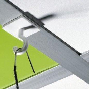 Ceilinghook with tape 25x25 mm. Kleefhaak wit zelfklevend 25x25mm. Prijs per 100 stuks.