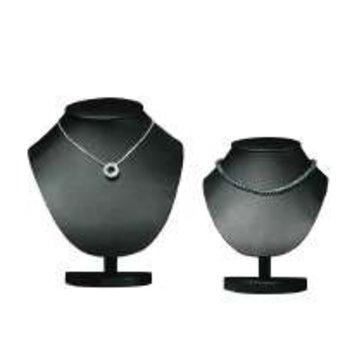 Collierhalsje zwart kunstleer hoogte 22cm