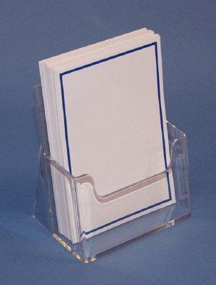 Folderbakje voor brochures A6 (op de maat 105x148 mm). Uitvoering staand. Binnenmaat bxhxd 110x128x40mm. Per stuk te bestellen, overdoos inhoud is 50 stuks. Rug loopt over hele breedte door, zodat folders niet ombuigen. Hoogwaardige uitvoering. Eenheid