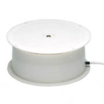 Draaiplateau met maximaal draagvermogen van  5 kg aansluiting op 220V diameter 150mm hoogte 65mm, draaisnelheid 2,5 omwentelingen per minuut. Kunststof uitvoering, snoerlengte 2 meter.<br /> <br /> Data<br /> <br />     Max. centrical load: 5 kg<br />     Turn plate: