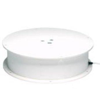 Draaiplateau met maximaal draagvermogen van 500kg aansluiting op 220V met sleepcontact voor aansluiting van bijvoorbeeld verlichting op het draaiplateau, diameter 400mm hoogte 125mm, met draaisnelheid  1 omwenteling per minuut