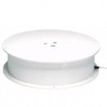 Draaiplateau met draagvermogen maximaal 100 kg aansluiting op 230V diameter 400mm hoogte 125mm draaisnelheid  2,5 omwenteling per minuut. Uitvoering voorzien van een sleepcontact. Stille uitvoering.