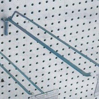 Boardhaak enkele pen  150 mm 4.8mm, breed hart op hart 25mm. Verpakking bevat 100 stuks. Voorzien van extra draadpen, waarop etikethouder bevestigd kan worden. Inhaakdikte op gaatjespaneel is 3,4mm. Wordt standaard geleverd zonder etikethouder.
