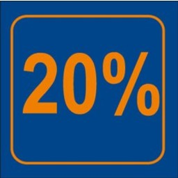 Raambiljet 20% , afmeting 24x23 cm.