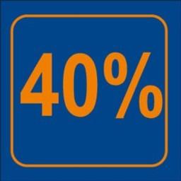 Raambiljet 40% , afmeting 24x23 cm.
