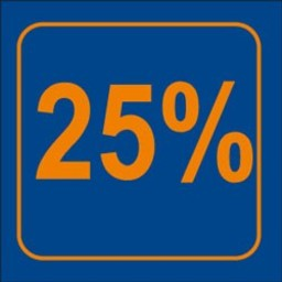 Raambiljet 25% , afmeting 24x23 cm.