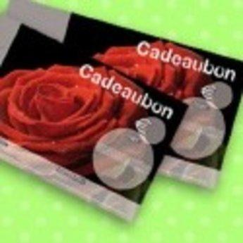 Cadeaubonnen bedrukt met roos in full colour, genummerd. Zwarte achtergrond met rode roos. Verpakt per 50 stuks inclusief enveloppen.