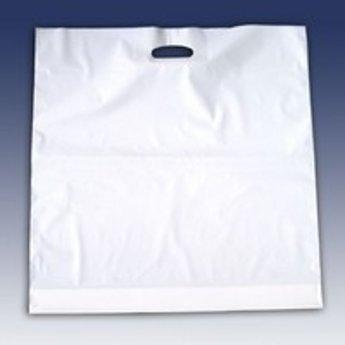 Draagtassen wit 37x44 cm -  inslag 2x4 cm dikte 40 micron plastic LDPE verpakt per 500 stuks.