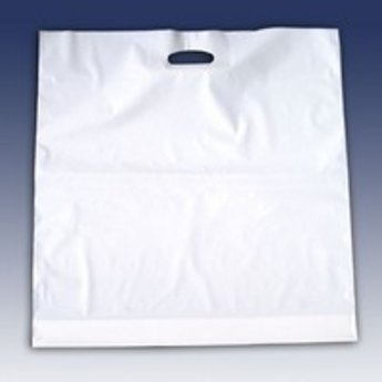Draagtassen wit 45x50 - inslag 2x4 cm dikte 50 micron plastic 500st
