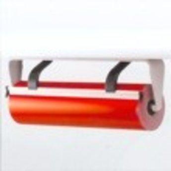 Folie-afroller = met kartelmes, grijs 60cm ondertafel compleet. Uitvoering met kartelmes. Afmeting bxhxd 664x270x220mm