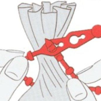 Hersluitbare bindsluiting  120 mm rood, per 1000 stuks. Diameter 3,5 mm, maximale trekkracht 130N.