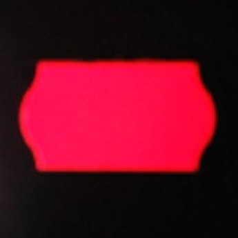 Etiket 22x12 golfrand fluorrood permanent 2-slitjes in onderpapier  63.000 etiketten  (42 rollen