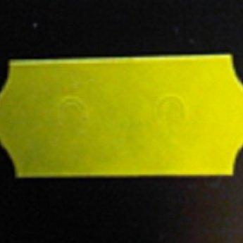 Etiket 26x12 golfrand geel permanent met transportstanzing 54.000 etiketten. (36 rollen