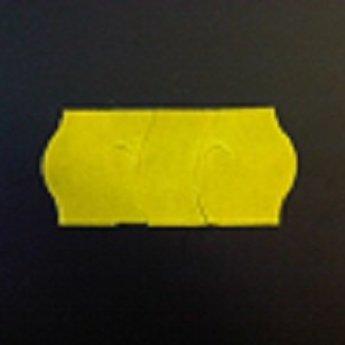 Etiket 26x12 golfrand geel permanent met antidiefstalstanzing/veiligheidsstansing/security cuts/anti-diefstal  54.000 etiketten. (36 rollen