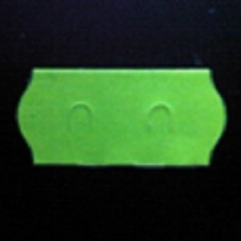 Etiket 26x12 golfrand fluor groen permanent  2-sl  54.000  (=36 rollen a 1500 etiketten) Gommering / kleefkracht 2