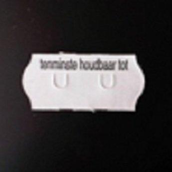 Etiket 26x12 golfrand wit permanent bedrukt met >>  Tenminste houdbaar tot:  << 2-sl  54.000  (=36 rollen a 1500 etiketten) Gommering / kleefkracht 2