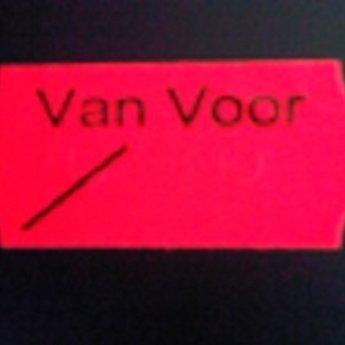 Etiket 26x12 golfrand fluor rood permanent bedrukt >>  VAN VOOR  << 2-sl  54.000  (=36 rollen a 1500 etiketten) Gommering / kleefkracht 2