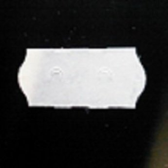 Etiket 26x12 golfrand wit textiel  54.000 etiketten. (36 rollen