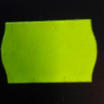 Etiket 2516 fluor geel permanent 2-slit golfrand  39.600 etiketten ( 36 rollen