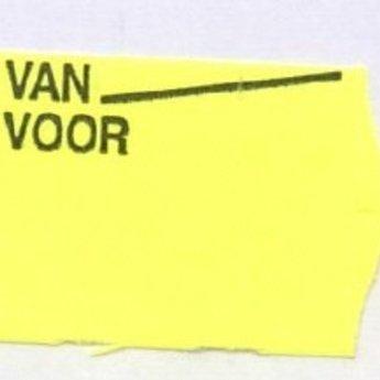Etiket 2516 golfrand fluor geel afneembaar bedrukt >> Van Voor <<  39.600 etiketten. ( 36 rollen