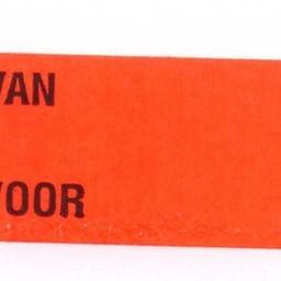 Etiket 3719 fl.rood afnmbr VAN VOOR 25rl