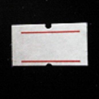 Etiket 2112 wit met 2 rode strepen permanent met gaatje tussen de etiketten, etiketten aan de buitenzijde op de rol, doosinhoud 50 rollen