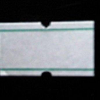 Etiket 2112 wit met 2 groene strepen afneembaar met gaatje tussen de etiketten, etiketten aan de buitenzijde op de rol, doosinhoud 50 rollen