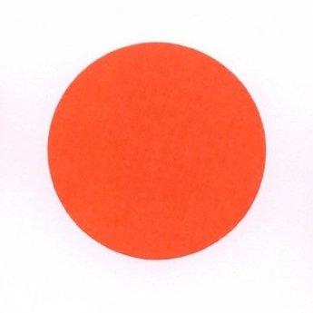 Etiket 35 mm rond fluor rood kleefkracht permanent, aantal etiketten 1000 stuks op rol.