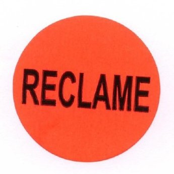 Etiket 35 mm fluor rood RECLAME kleefkracht permanent, aantal etiketten 1000 stuks op rol.