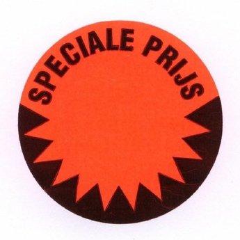 Etiket 50 mm fluor rood  SPECIALE PRIJS kleefkracht permanent, aantal etiketten 1000 stuks op rol.