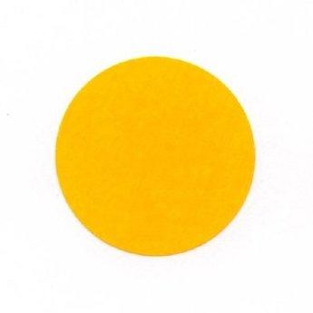 Etiket 25 mm rond fluor oranje kleefkracht permanent, aantal etiketten 1000 stuks op rol.