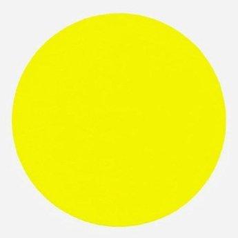 Etiket 67 mm rond fluor geel kleefkracht permanent, aantal etiketten 1000 stuks op rol.