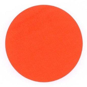 Etiket 100 mm rond fluor rood kleefkracht permanent, aantal etiketten 1000 stuks op rol.