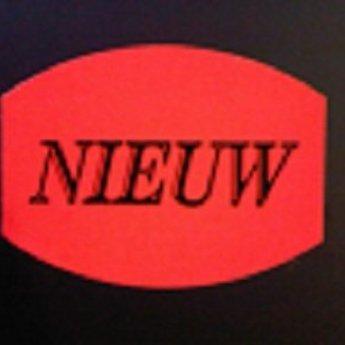 Etiket fluor rood 33x25mm - NIEUW   500/rol, kleefkracht permanent. Kortingsetiketten, procentetiketten, afprijs-etiketten.