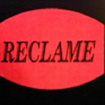 Etiket fluor rood  33x25 mm RECLAME   500/rol, kleefkracht permanent. Kortingsetiketten, procentetiketten, afprijs-etiketten.
