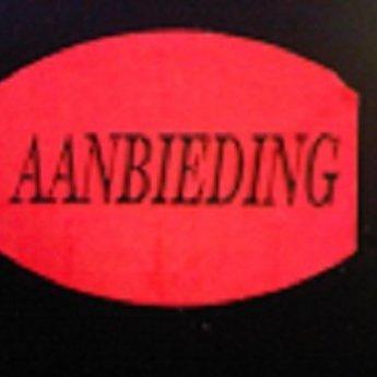 Etiket fluor rood 33x25mm - AANBIEDING   500/rol, kleefkracht permanent. Kortingsetiketten, procentetiketten, afprijs-etiketten.