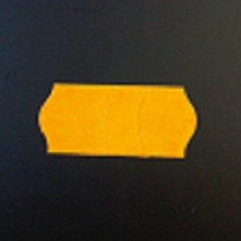 Etiket 26x12 golfrand fluor oranje afneembaar met antidiefstalstanzing/veiligheidsstansing/security cuts/anti-diefstal  54.000 etiketten. (36 rollen