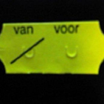 Etiket 26x12 golfrand fluor geel permanent bedrukt >>  VAN VOOR  << 2-sl  54.000  (=36 rollen a 1500 etiketten) Gommering / kleefkracht 2