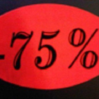 Etiket fluor rood 33x25mm -75 procent   500/rol, kleefkracht permanent. Kortingsetiketten, procentetiketten, afprijs-etiketten.