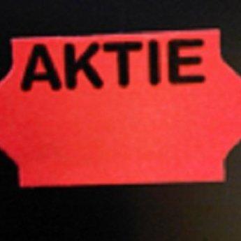 Etiket 3219 golfrand fluor rood bedrukt >>>  AKTIE  <<<  2slit, doosinhoud 30 rollen